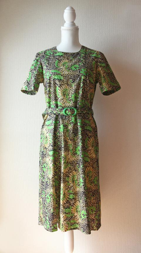 vivid green and mustard floral batik dress