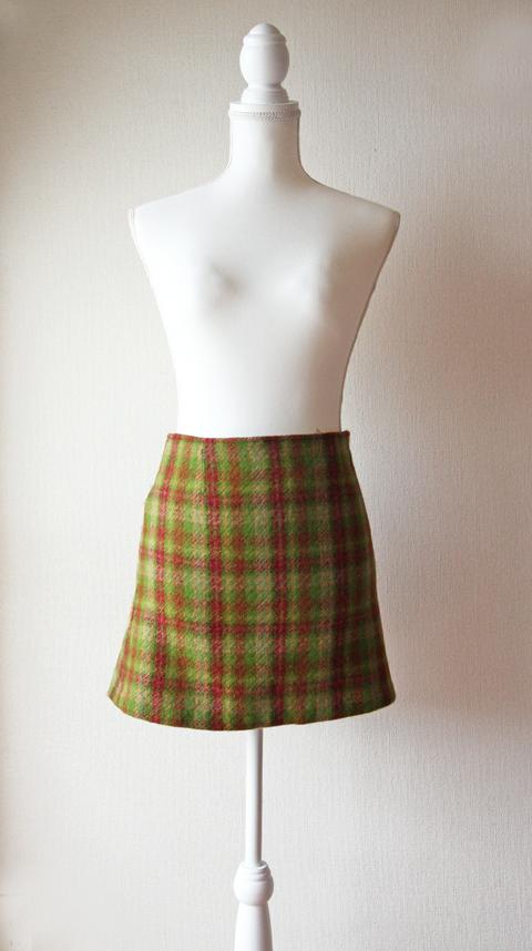Agnes B green red and orange tartan wool mini skirt