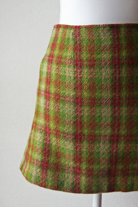 Agnes B green red and orange tartan wool mini skirt