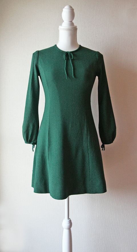 Handmade green dotted long sleeve fitted mini dress