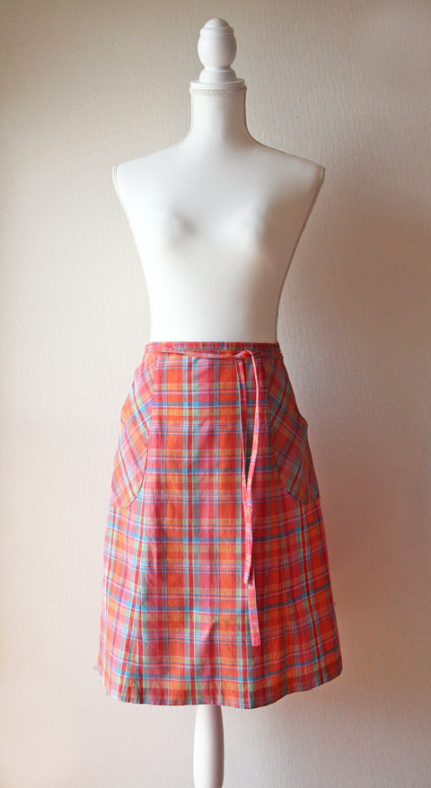 Pasefile Madras plaid wrap skirt