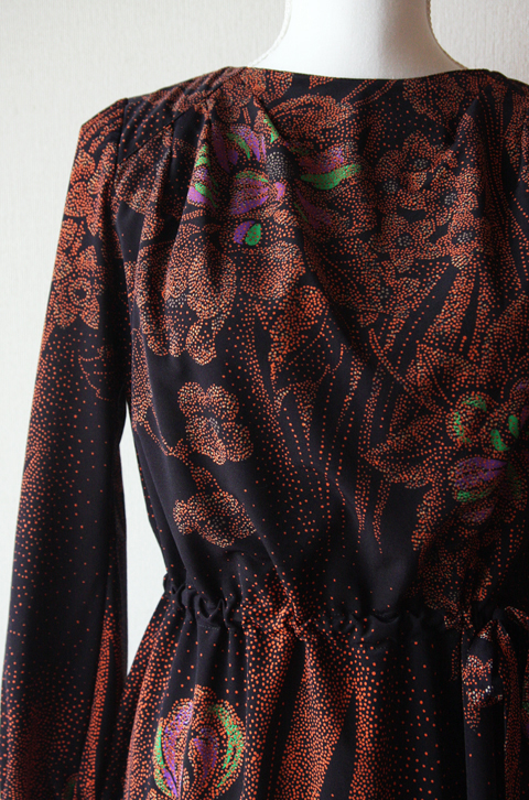 Copper and black dotted floral long sleeve dress