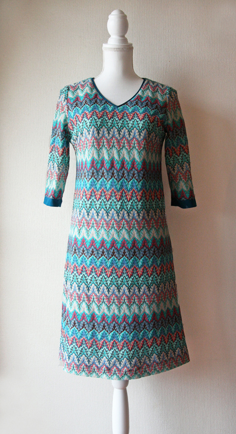Lumière turquoise, pink and white V neck midi dress