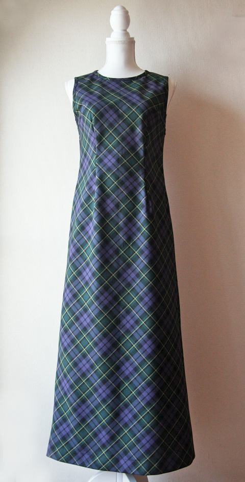 m. purple and green douglas tartan sleeveless maxi dress