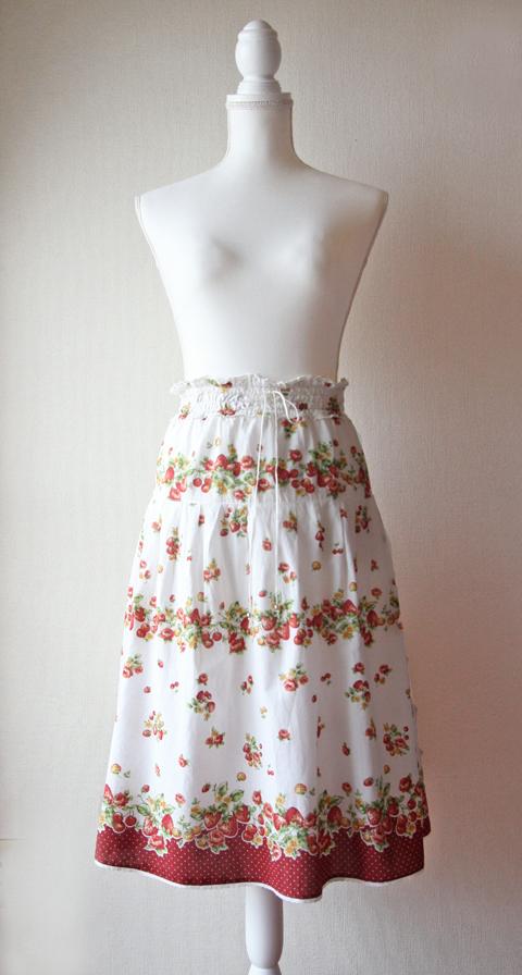 strawberry and cherry white boho midi skirt
