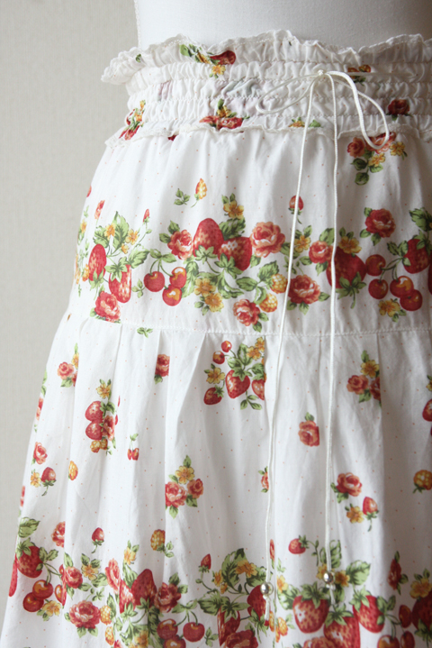 strawberry and cherry white boho midi skirt