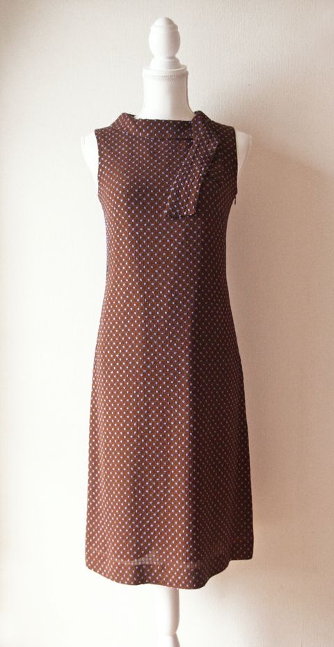 Ballsey brown and blue dotted sleeveless pencil dress with tie collar