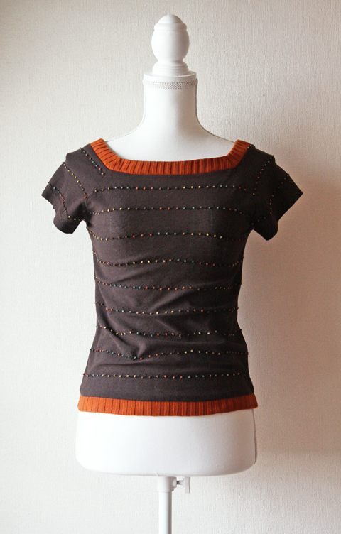 Gallarda Galante chocolate brown and orange square neck short sleeve top