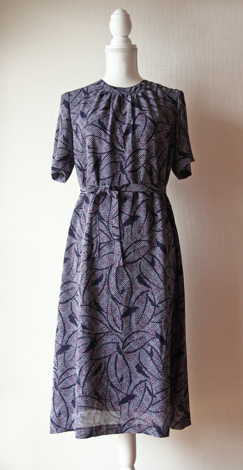 Navy purple and white floral short sleeve shift dress