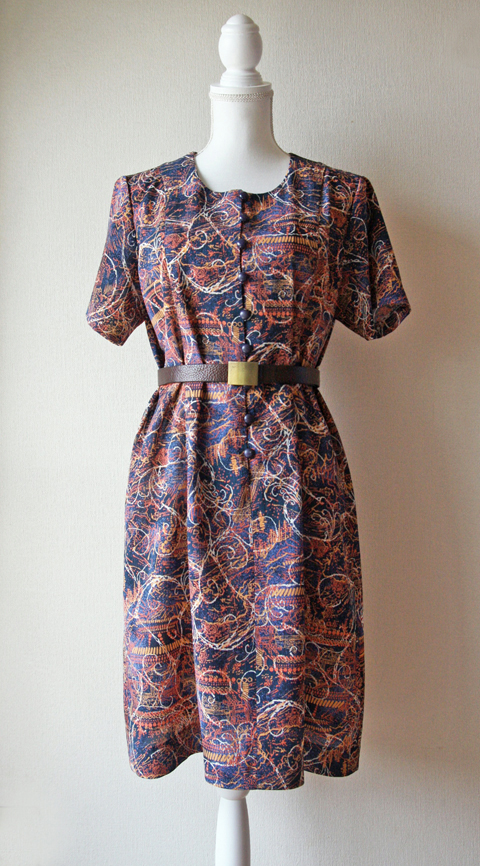 Orange and navy novelty print short sleeve shift dress 1