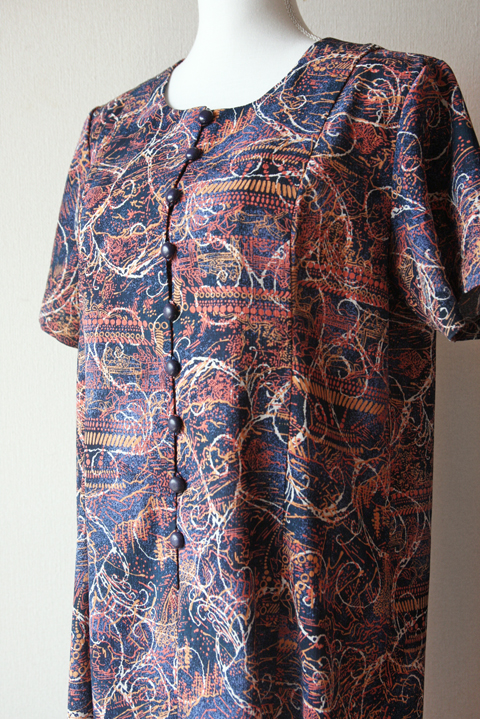 Orange and navy novelty print short sleeve shift dress
