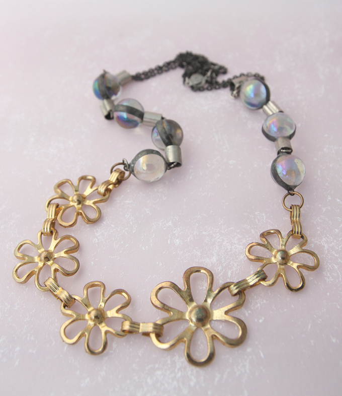 Bijou Caillou vintage brass flowers and iridescent glass beads duo necklace 1