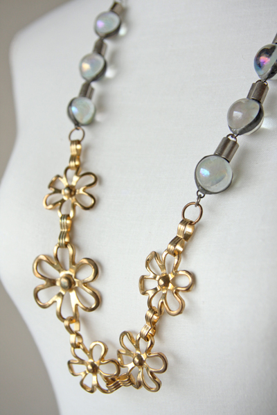 Bijou Caillou vintage brass flowers and iridescent glass beads duo necklace