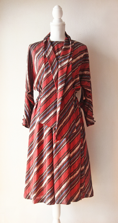 Cordier rusty red, blue and white striped long sleeve dress with scarf