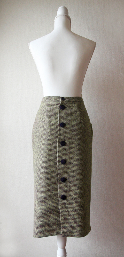 Eleonora Scaramucci olive green and navy tweed back buttoned pencil skirt