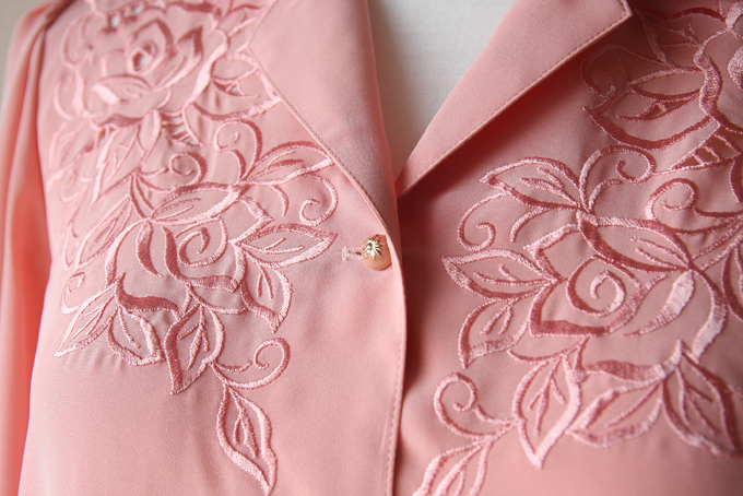 Nasic Blouse Tokyu pastel pink embroidered long sleeve blouse
