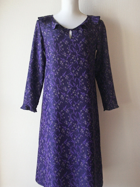 Espeyrac royal purple floral dress with colleret collar