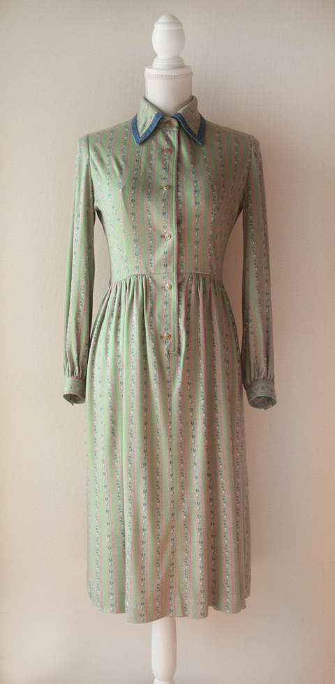 Hanamura mint green and pink fitted long sleeve dress