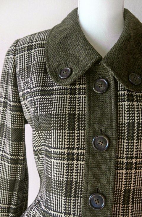 Jun Ashida dark olive green houndstooth plaid jacket