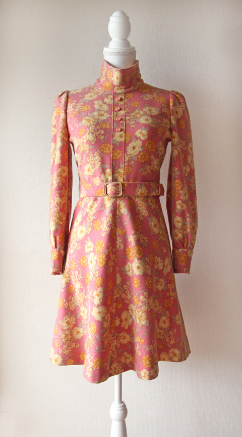 Pink and yellow floral long sleeve wool mini dress