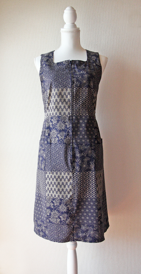 Navy and beige sleeveless cotton dress with patchwork pattern